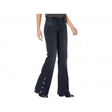 Woman's Rock and Roll Cowgirl Mid-Rise Trousers with Button Detail At Side Hem in Dark Vintage W8M6097 Dark Vintage ZTEGY140