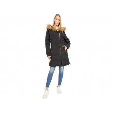 Women Cole Haan 36 Quilted Exposed Zip Front Coat with Faux Fur Trim Black VCPZM831