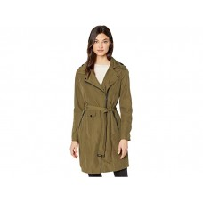 Woman's Avec Les Filles Water-Resistant Moto Trench Olive HXYDQ557