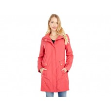 Woman's Cole Haan 34 1/2 Single Breasted Rain Jacket with Removable Hood Red WFOYI742
