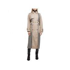 Woman's rokh Combi Panel Trench Burly Wood/Beige/Red Check OOUPK584