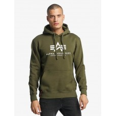 Alpha Industries Men Hoodie Basic in green cotton 20% polyester Sale NTPGW471