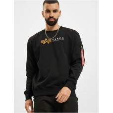 Alpha Industries Men Pullover Alpha Label in black cotton 20% polyester Selling Well VPTQF960