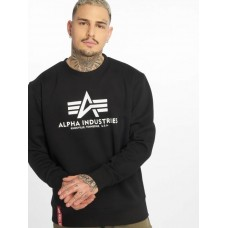 Alpha Industries Men Pullover Basic in black cotton 20% polyester Cut Off WYEUV693
