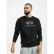 Alpha Industries Men Pullover Basic Reflective Print in black cotton 20% polyester Fashion WFDLJ572